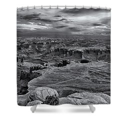 White Rim Overlook Monochrome Shower Curtain