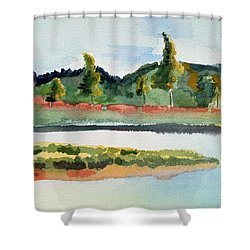 White River At Royalton After Edward Hopper Shower Curtain