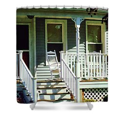 White Rocking Chairs Shower Curtain by Susan Savad