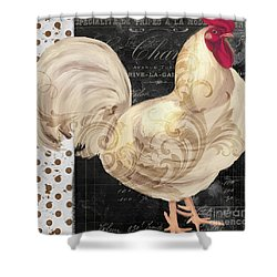 White Rooster Cafe I Shower Curtain by Mindy Sommers
