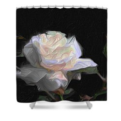 White Rose Painting Shower Curtain