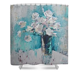 White Roses Palette Knife Acrylic Painting Shower Curtain