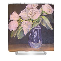 Shower Curtain featuring the painting White Roses by Saundra Johnson