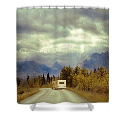 Shower Curtain featuring the photograph White Rv In Montana by Jill Battaglia