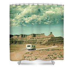White Rv In Utah Shower Curtain by Jill Battaglia