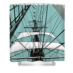 White Sails At Dawn Shower Curtain by Linda  Parker