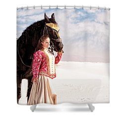 White Sands Horse And Rider #2a Shower Curtain
