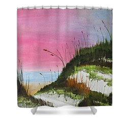 Shower Curtain featuring the painting White Sandy Beach by Jack G Brauer