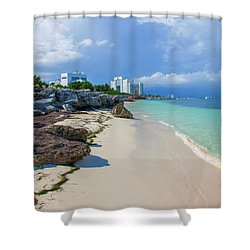 White Sandy Beach Of Cancun Shower Curtain