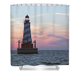 White Shoal Lighthouse At Sunset Shower Curtain