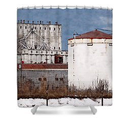 White Silo And Grain Elevator Shower Curtain by David Blank