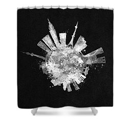 White Skyround / Skyline Art Of Tokyo, Japan Shower Curtain