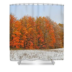 White Snow In Autumn Shower Curtain