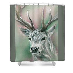 Shower Curtain featuring the pastel White Stag by MM Anderson