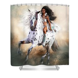 Shower Curtain featuring the digital art White Storm by Shanina Conway