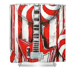 White Stripes Guitar Shower Curtain