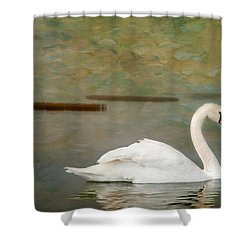 Shower Curtain featuring the photograph White Swan by Carolyn Dalessandro