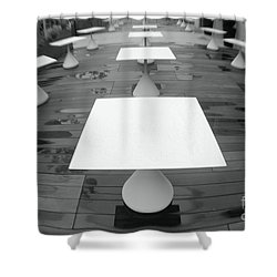 White Tables Shower Curtain