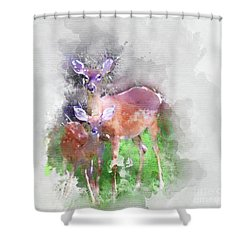 White Tail Deer In Watercolor Shower Curtain