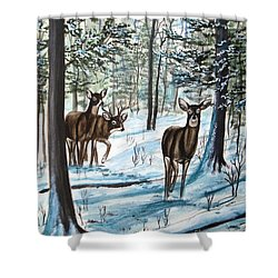 Shower Curtain featuring the painting White Tail Deer In Winter by Patricia L Davidson