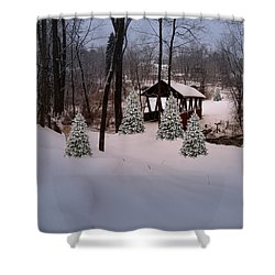 White Tailed Buck At Belmont N H Covered Bridge Shower Curtain