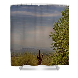 White Tank Mountain Majesty 2 Shower Curtain by Anne Rodkin