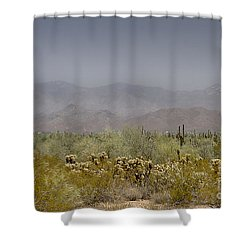 White Tank Mountain Majesty Shower Curtain by Anne Rodkin