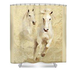 White Thunder Shower Curtain by Melinda Hughes-Berland