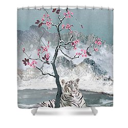 White Tiger And Plum Tree Shower Curtain