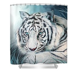Shower Curtain featuring the mixed media White Tiger - Spirit Of Sensuality by Carol Cavalaris