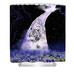 White Tiger Fantasy Shower Curtain