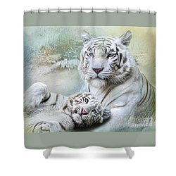 White Tiger Shower Curtain by Trudi Simmonds