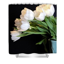 White Tulips In Blue Vase Shower Curtain by Julia Wilcox