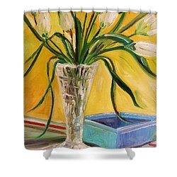 White Tulips In Cut Glass Shower Curtain