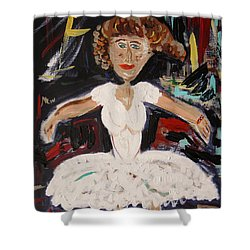 Shower Curtain featuring the painting White Tutu by Mary Carol Williams