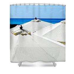 White Umbrellas Shower Curtain by Karen Wiles