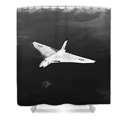 Shower Curtain featuring the digital art White Vulcan B1 At Altitude Black And White Version by Gary Eason