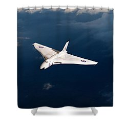 Shower Curtain featuring the digital art White Vulcan B1 At Altitude by Gary Eason
