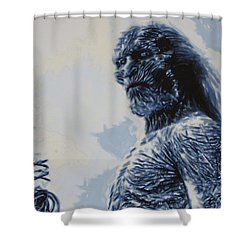 Shower Curtain featuring the painting White Walker by Luis Ludzska