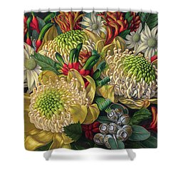 White Waratahs Flannel Flowers And Kangaroo Paws Shower Curtain