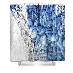 Shower Curtain featuring the photograph White Water And Blue Ice Gullfoss Waterfall Iceland by Matthias Hauser