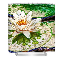 White Water Lilies Flower Shower Curtain by Lanjee Chee