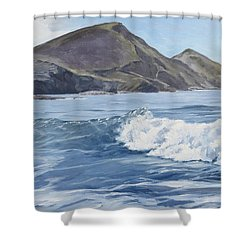 White Wave At Crackington  Shower Curtain