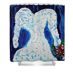 White Wedding Dress On Blue Shower Curtain by Mary Carol Williams