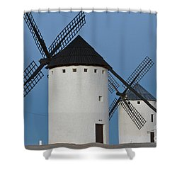Shower Curtain featuring the photograph White Windmills by Heiko Koehrer-Wagner
