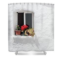 White Window Shower Curtain
