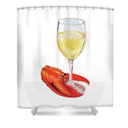 White Wine And Lobster Claw Shower Curtain