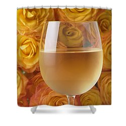 White Wine And Yellow Roses Shower Curtain by Garry Gay