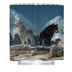 White Wolf, Black Wolf Shower Curtain by Daniel Eskridge