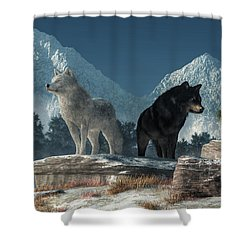 Shower Curtain featuring the digital art White Wolf, Black Wolf by Daniel Eskridge